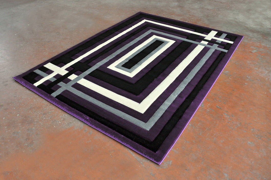 J704 Purple Black Area Rug