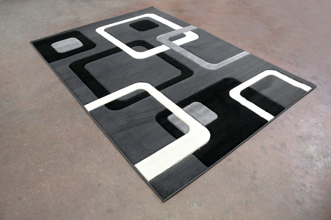 J707Antracite Black Area Rug