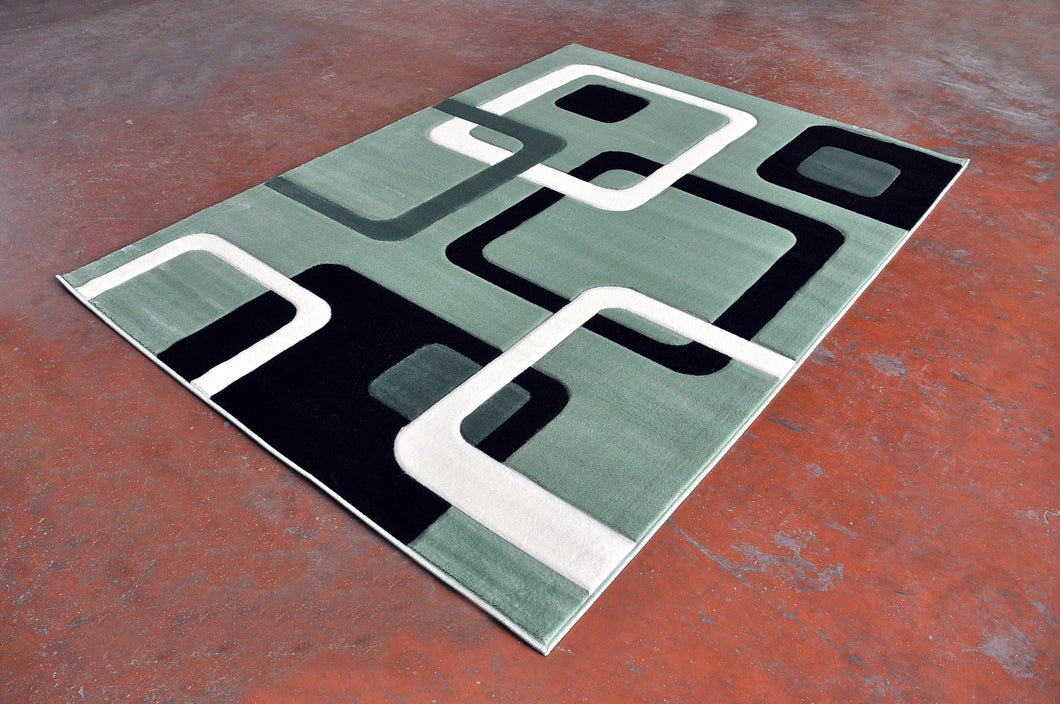 J707L Green Black Area Rug