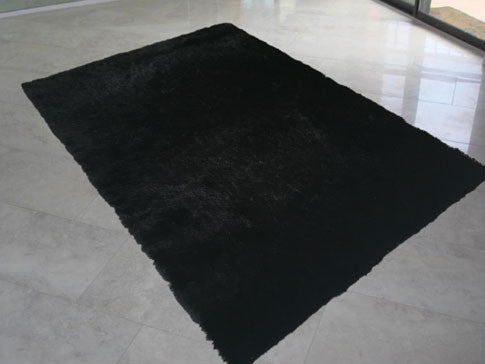 LX Solid Black Area Rug