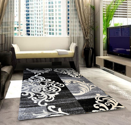 SH101 Grey Black Area Rug