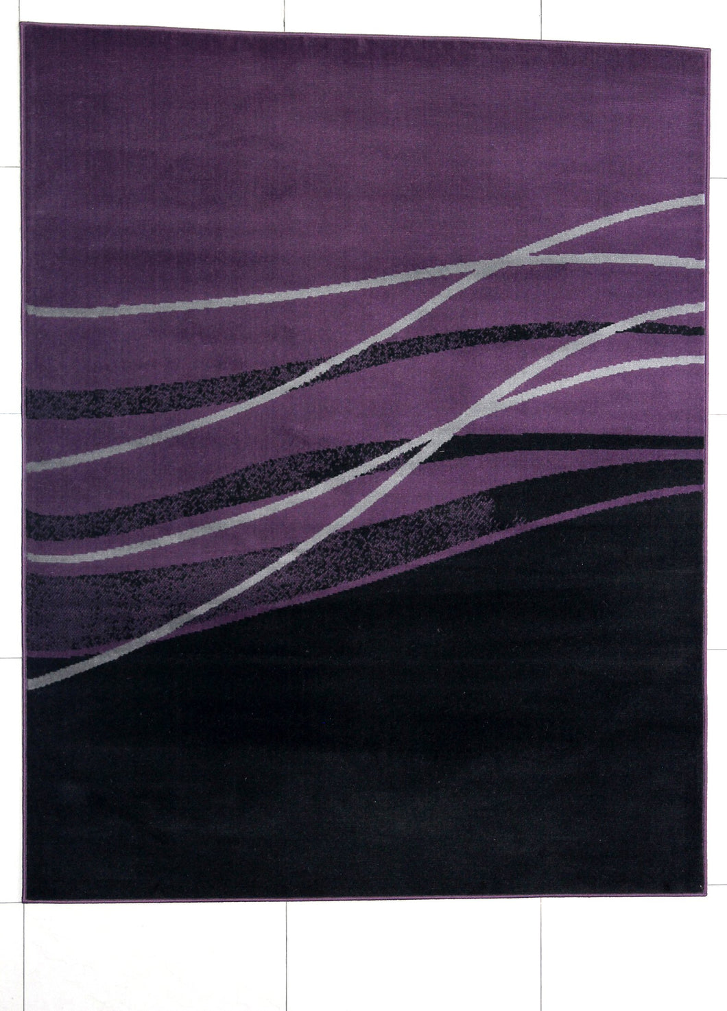 Wali Rectangle Black/Purple Area Rug