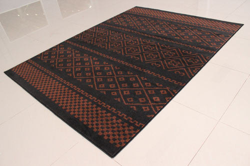 W1510 Black Brown Area Rug