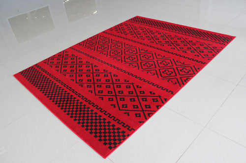 W1510 Red Black Area Rug