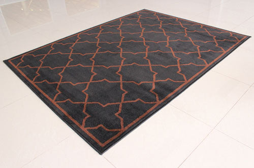 W1512 Black Brown Area Rug