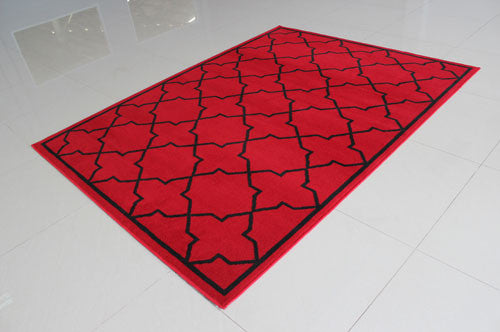 W1512 Red Black Area Rug