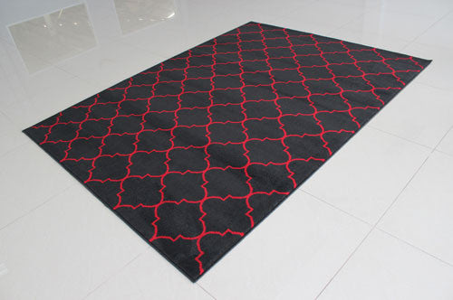 W1521 Black Red Area Rug