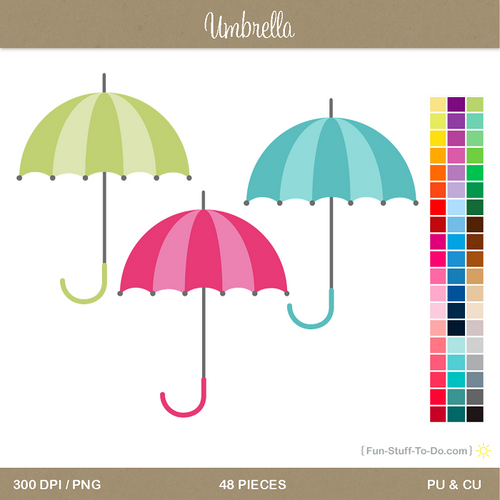 Umbrella Clip Art in various colours - 48 pieces