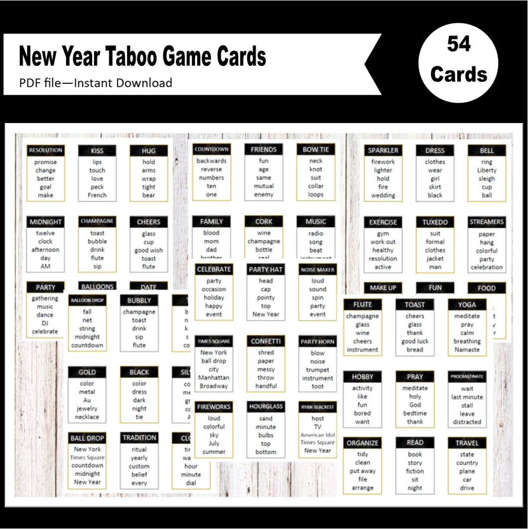 printable taboo game cards