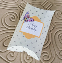 Completed pillow box using fun-stuff-to-do.com transparent template