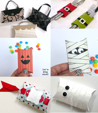 6 ideas to create with a transparent pillow box template - small purse box, utensil holder, confetti holder, halloween treat boxes, gift card holder