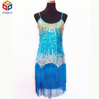 Women Bling Latin Dance Fringe Dress Sexy Rainbow Color Club Slip Sequin Dress With Tassel Vestido Robe Paillettes