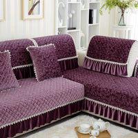 1pc Lace Decorative Purple Sofa Towel Sectional Sofa Covers Modern Camel Seat Slipcover Cushion Couch Cover Home Decor Many Size
