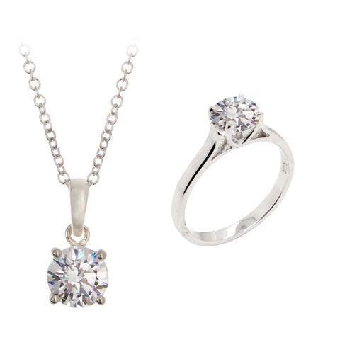 Ella Sterling Silver Round Cubic Zirconia Solitaire Necklace Earring And Ring Set