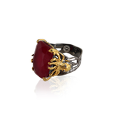 Handmade Sterling Silver Ring With Enhanced Ruby