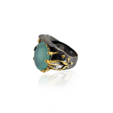 Handmade Sterling Silver Ring With Mint Onyx Stone