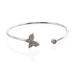 Ella White Sterling Silver Bangle