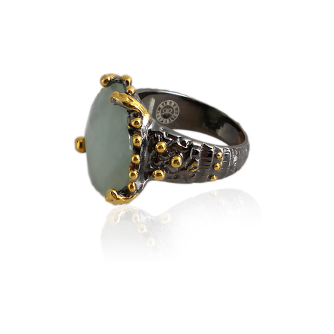 Handmade Sterling Silver Ring With Aquamarine Stone