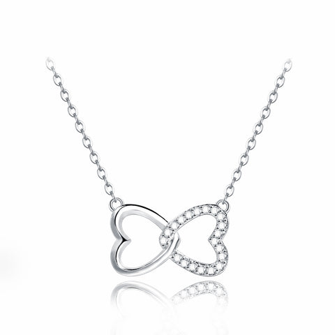 Ella Double Hearts Sterling Silver Necklace