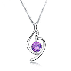 Ella Trendy Purple Sterling Silver Necklace