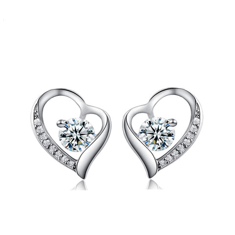 Ella Love Heart-Shaped Trendy Simple White Sterling Silver Stud Earrings