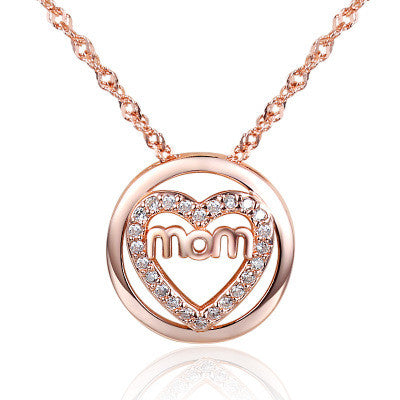 Ella elegant micro setting love heart mom white sterling silver pendant