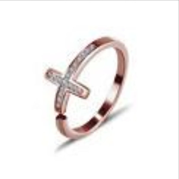 Ella rose cross CZ sterling silver adjustable ring