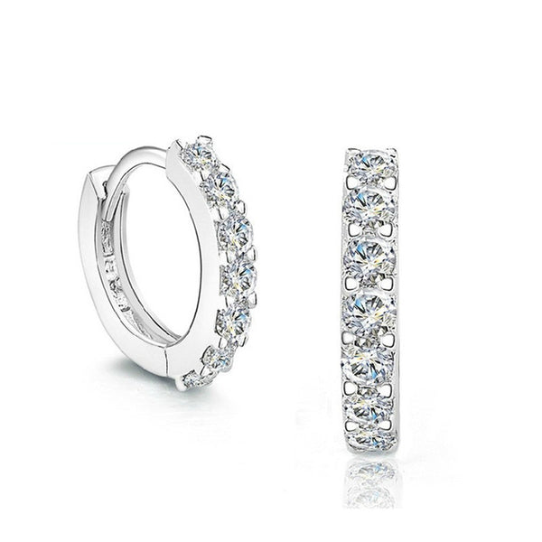 Ella circle round trendy CZ 925 sterling silver hoop earrings