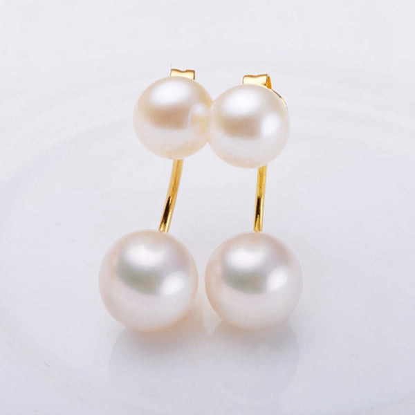 Pearl drop dangle earrings in sterling silver