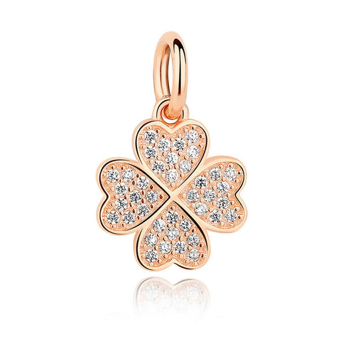 Ella four-leaf micro setting sterling silver lucky pendant