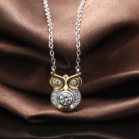 Ella Forest Owl CZ Solid 925 Sterling Silver Necklace