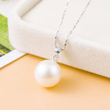 Ella elegant concise single white shell pearl sterling silver pendant