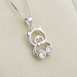 Ella cute cz bear necklace in sterling silver