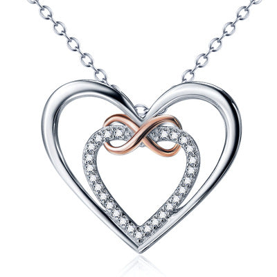 Ella Trendy Infinite Double Heart White Sterling Silver Necklace