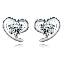 Ella White Heart Sterling Silver CZ Stud Earrings