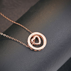 Ella Rotatable Love Heart Rose Gold Sterling Silver Necklace
