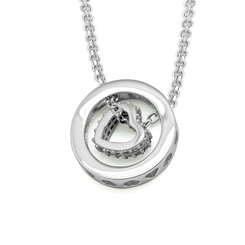 Ella Rotatable Love Heart White Gold Sterling Silver Necklace