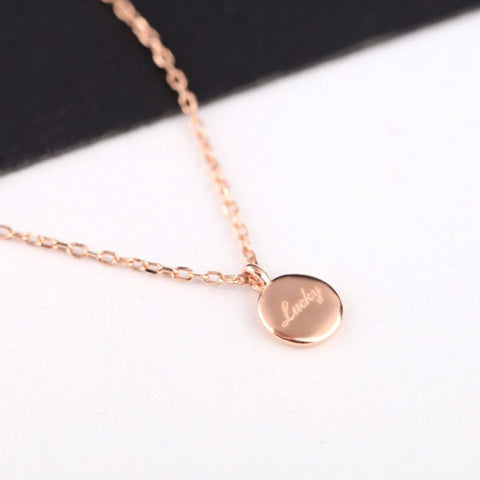 Elegant timeless round luck necklace in sterling silver