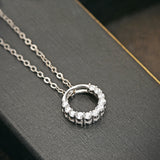 Ella trendy circle micro setting sterling silver pendant