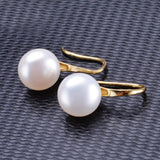 Ella White Pearl Yellow Dangle Earrings in Sterling Silver