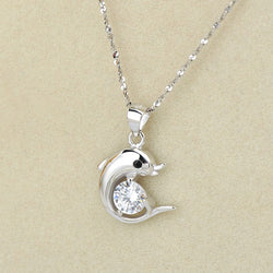 Ella Lovely Dolphin White Sterling Silver Necklace