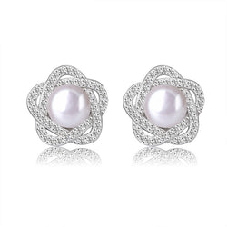 Ella micro setting half round  pearl sterling silver stud earrings