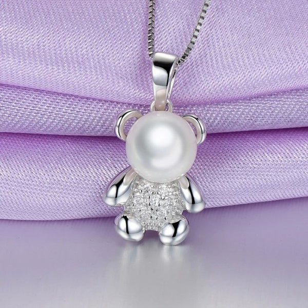 Ella pearl cute bear silver pendant in sterling silver