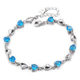 Ella my heart blue CZ sterling silver bracelet