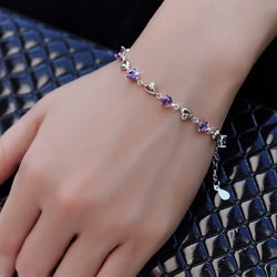 Ella my heart purple CZ sterling silver bracelet