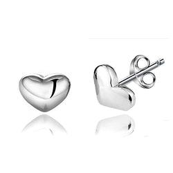 Ella Trendy Simple True Love Heart White Sterling Silver Stud Earrings