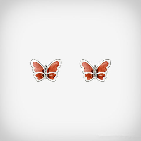 Ella simple red butterfly sterling silver stud earrings