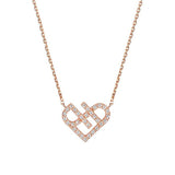 Ella Rose Love Heart Solid Sterling Silver Chain Necklace