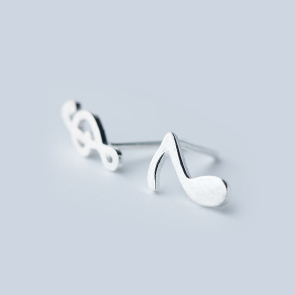 Ella Fashion Melody Note Sterling Silver Stud Earrings