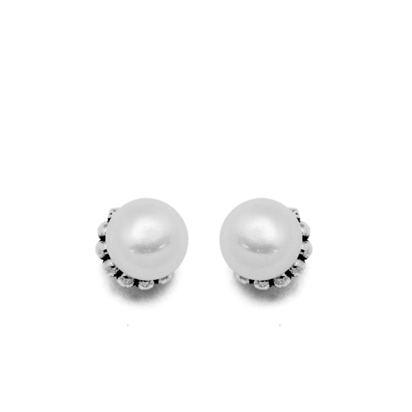 Ella Vintage Pearl Sterling Silver Stud Earrings
